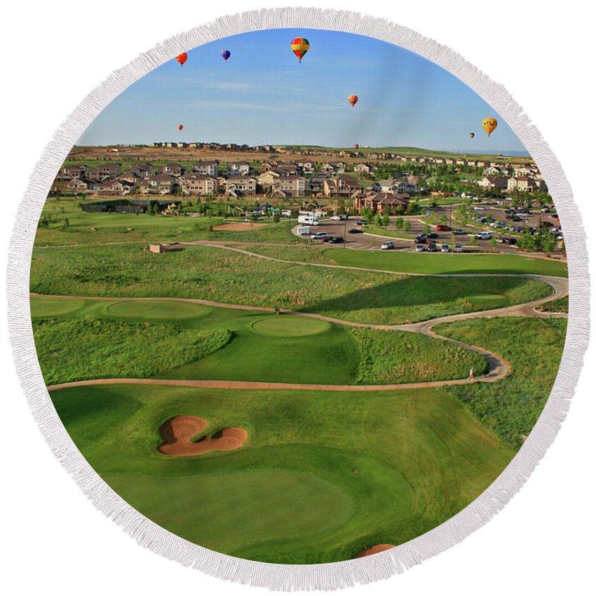 Golf Round Beach Towel featuring the photograph Above The Course by Scott Mahon