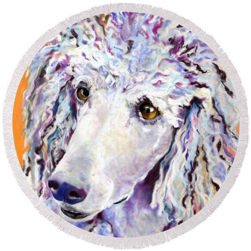 Standard Poodle Round Beach Towel featuring the pastel Above The Standard  by Pat Saunders-White