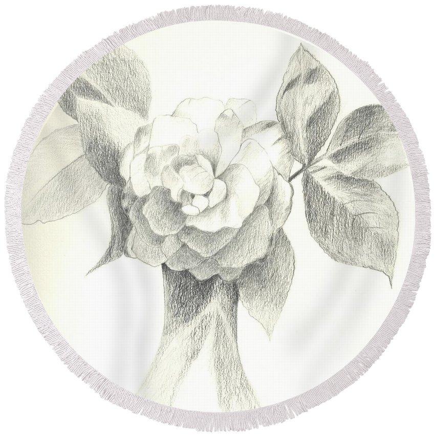 Rose Round Beach Towel featuring the drawing Abracadabra by Helena Tiainen