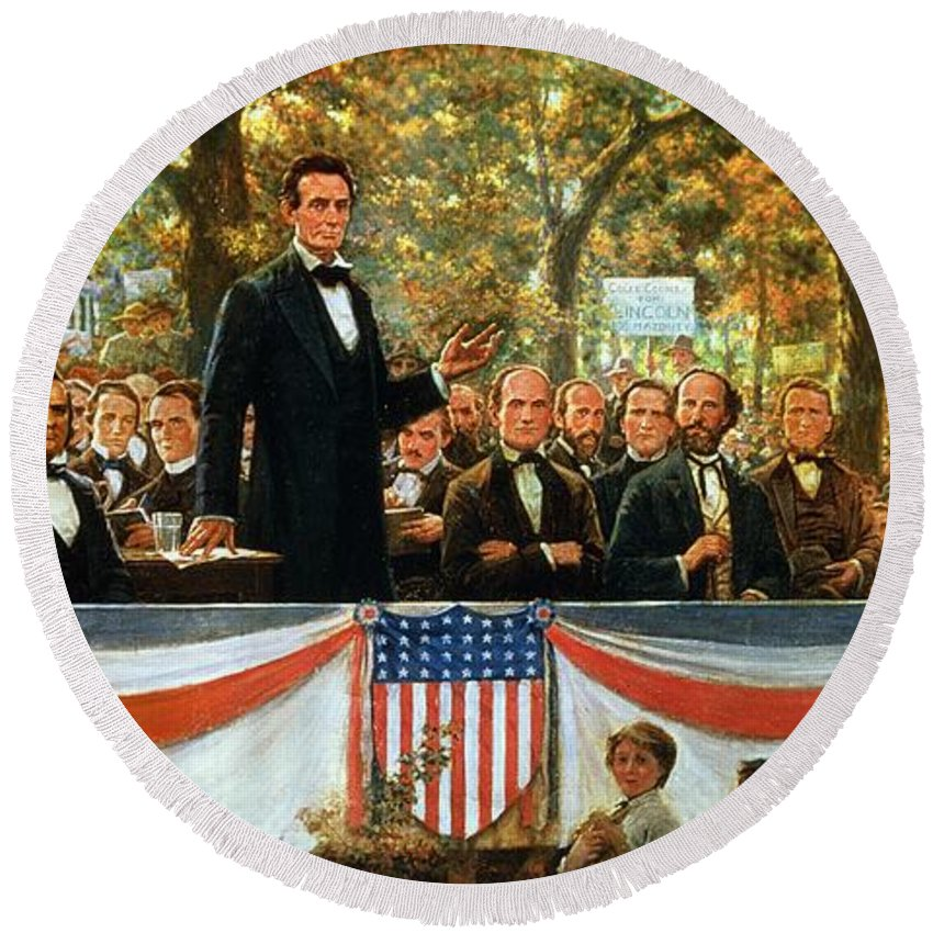 Abraham Round Beach Towel featuring the painting Abraham Lincoln And Stephen A Douglas Debating At Charleston by Robert Marshall Root