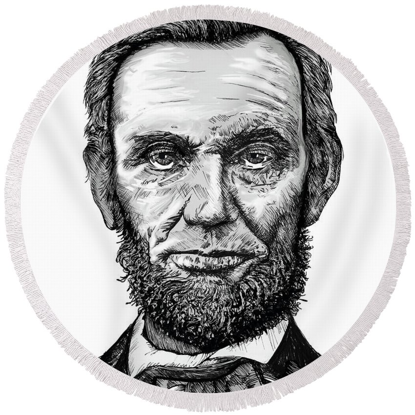 Abraham Lincoln Round Beach Towel featuring the drawing Abraham Lincoln by Doug LaRue