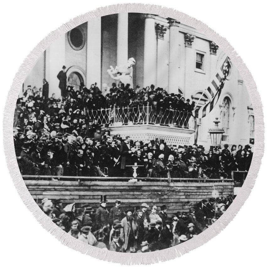 second Inaugural Address Round Beach Towel featuring the photograph Abraham Lincoln Gives His Second Inaugural Address - March 4 1865 by International Images
