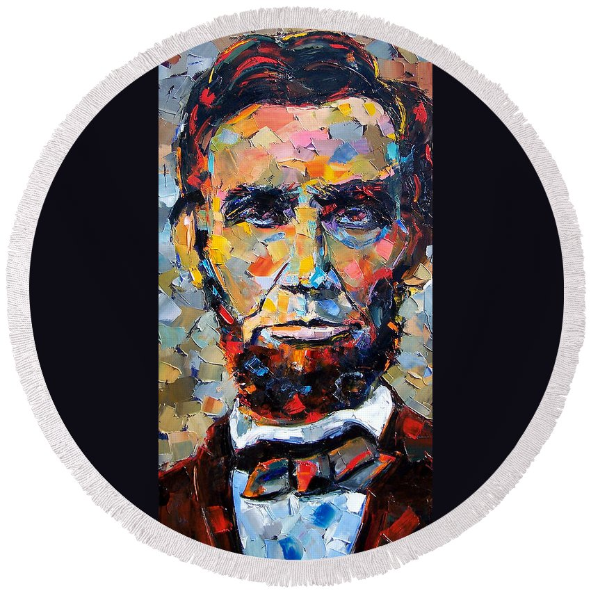 President Round Beach Towel featuring the painting Abraham Lincoln portrait by Debra Hurd