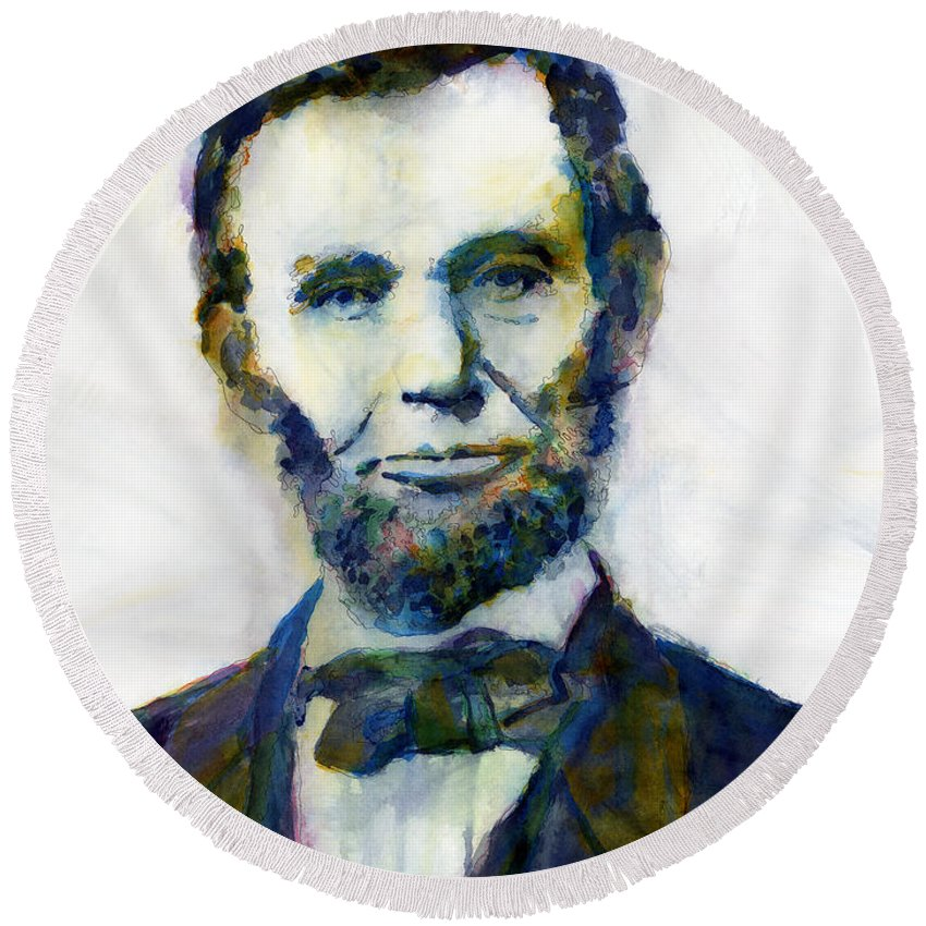 Abraham Round Beach Towel featuring the painting Abraham Lincoln Portrait Study 2 by Hailey E Herrera
