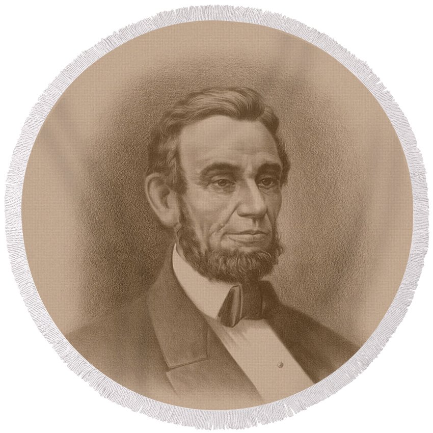 Abraham Lincoln Round Beach Towel featuring the drawing Abraham Lincoln - Savior Of His Country by War Is Hell Store
