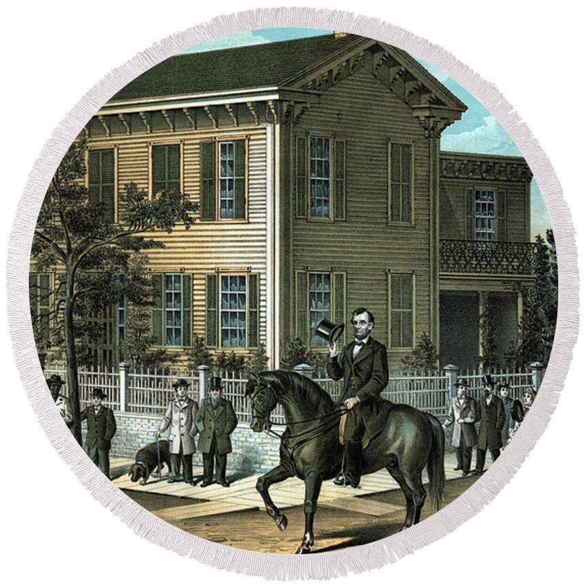 Abraham Lincoln Round Beach Towel featuring the painting Abraham Lincoln's Return Home by War Is Hell Store