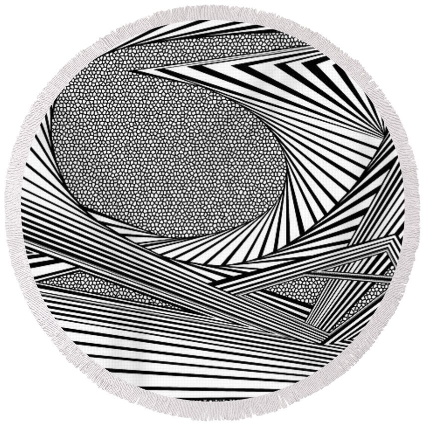 Dynamic Black And White Round Beach Towel featuring the painting Absolution by Douglas Christian Larsen