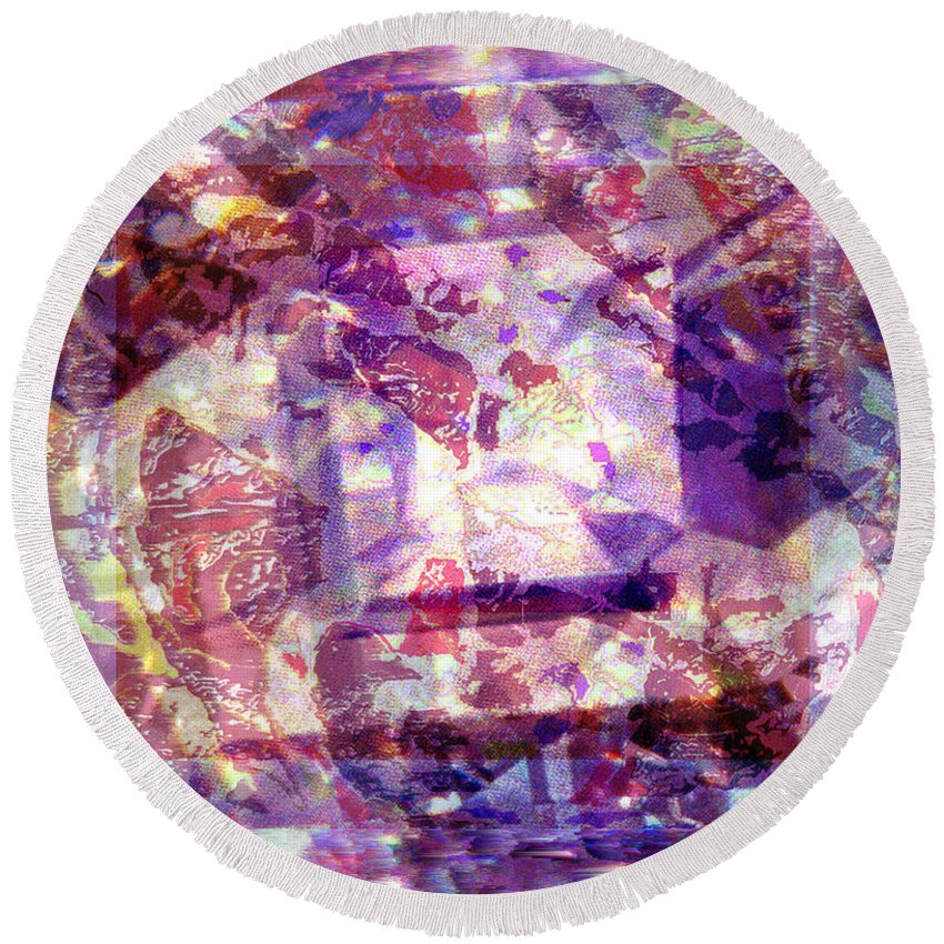 Abstract Round Beach Towel featuring the digital art Abstacked by Seth Weaver