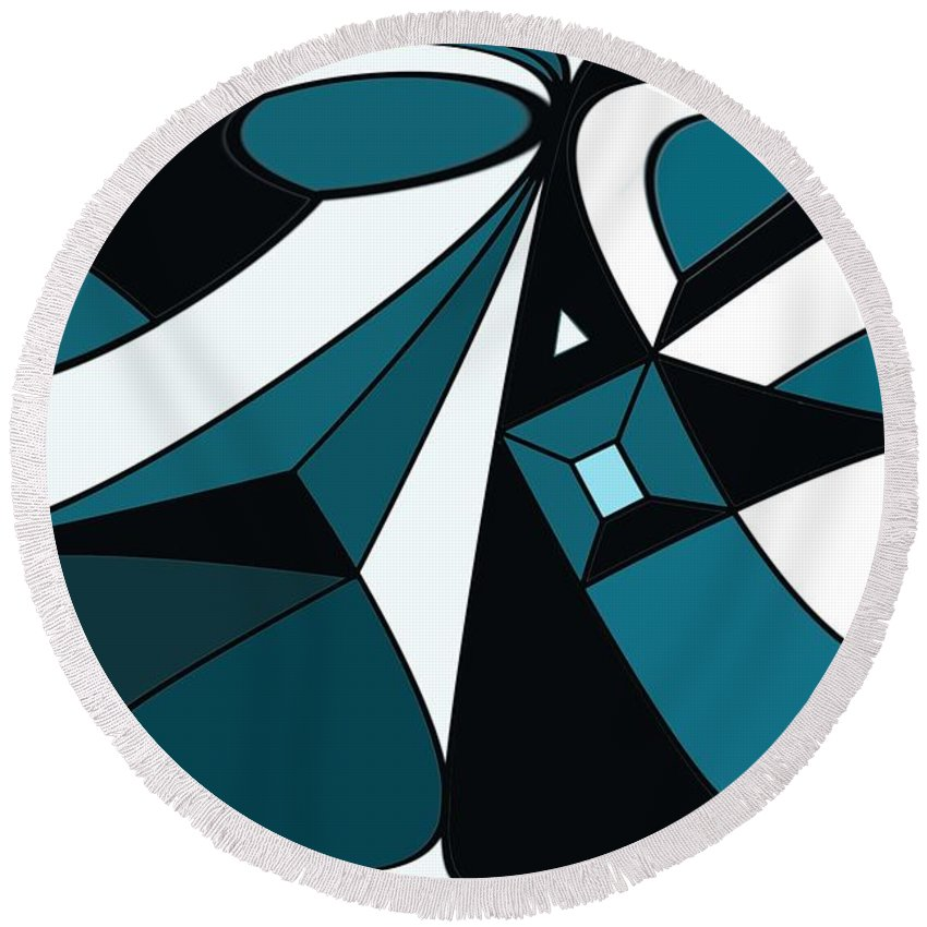 Abstract Round Beach Towel featuring the digital art Abstrac7-30-09-a by David Lane