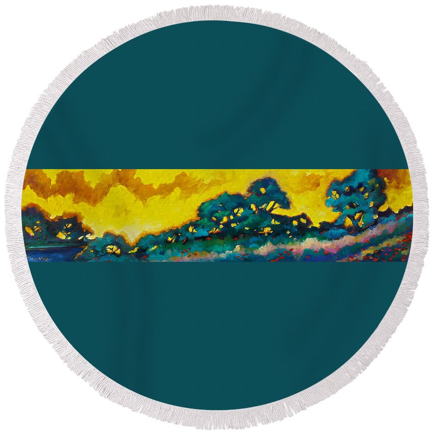 Abstract Round Beach Towel featuring the painting Abstract 01 by Richard T Pranke