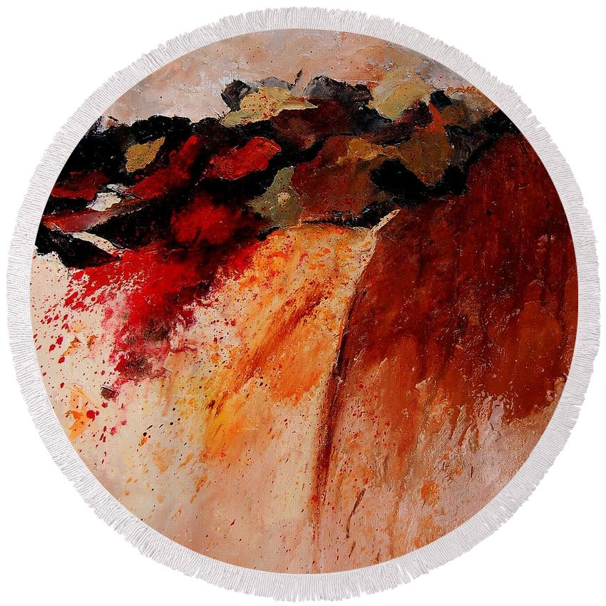 Abstract Round Beach Towel featuring the painting Abstract 010607 by Pol Ledent