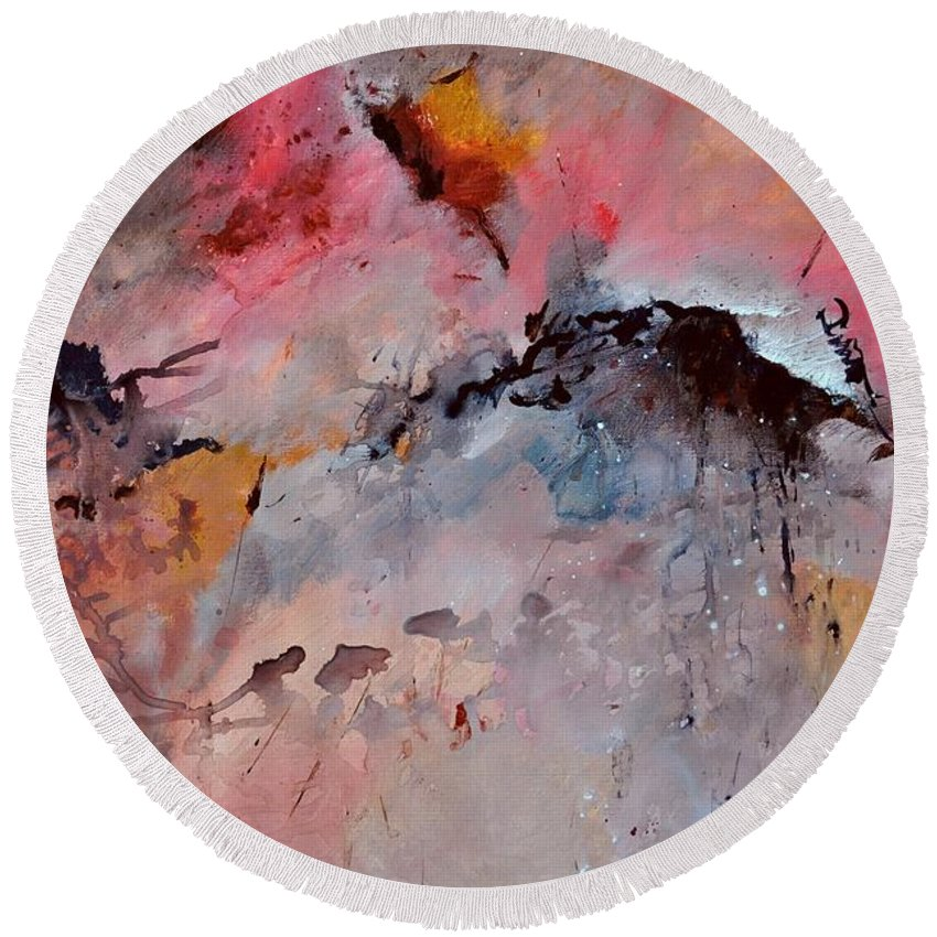 Abstract Round Beach Towel featuring the painting Abstract 015082 by Pol Ledent