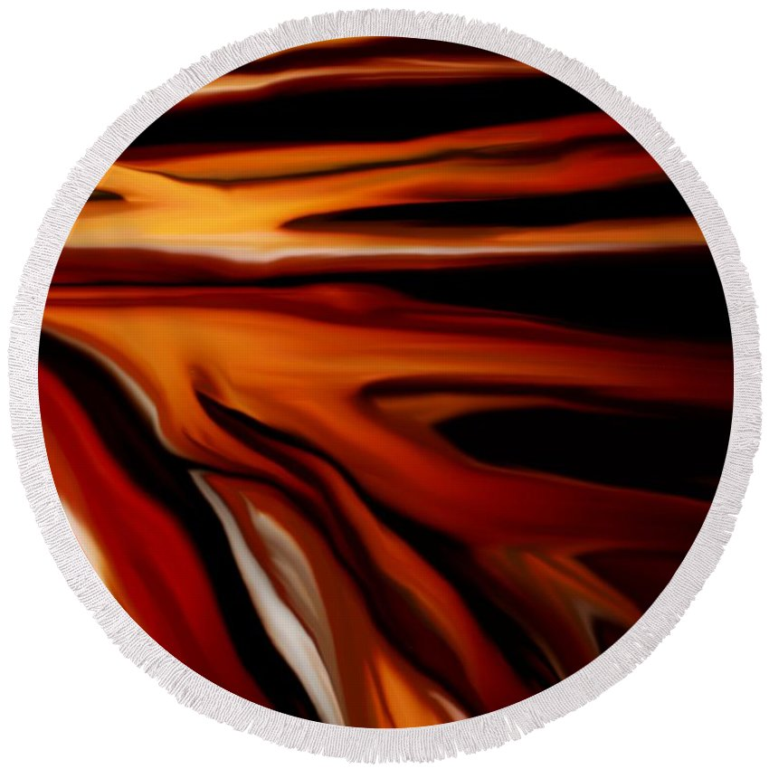 Digital Painting Round Beach Towel featuring the digital art Abstract 02-12-10 by David Lane