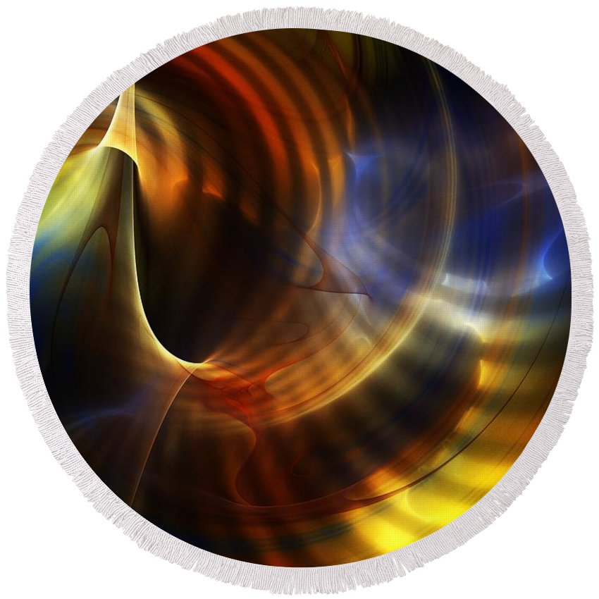 Fine Art Round Beach Towel featuring the digital art Abstract 040511 by David Lane