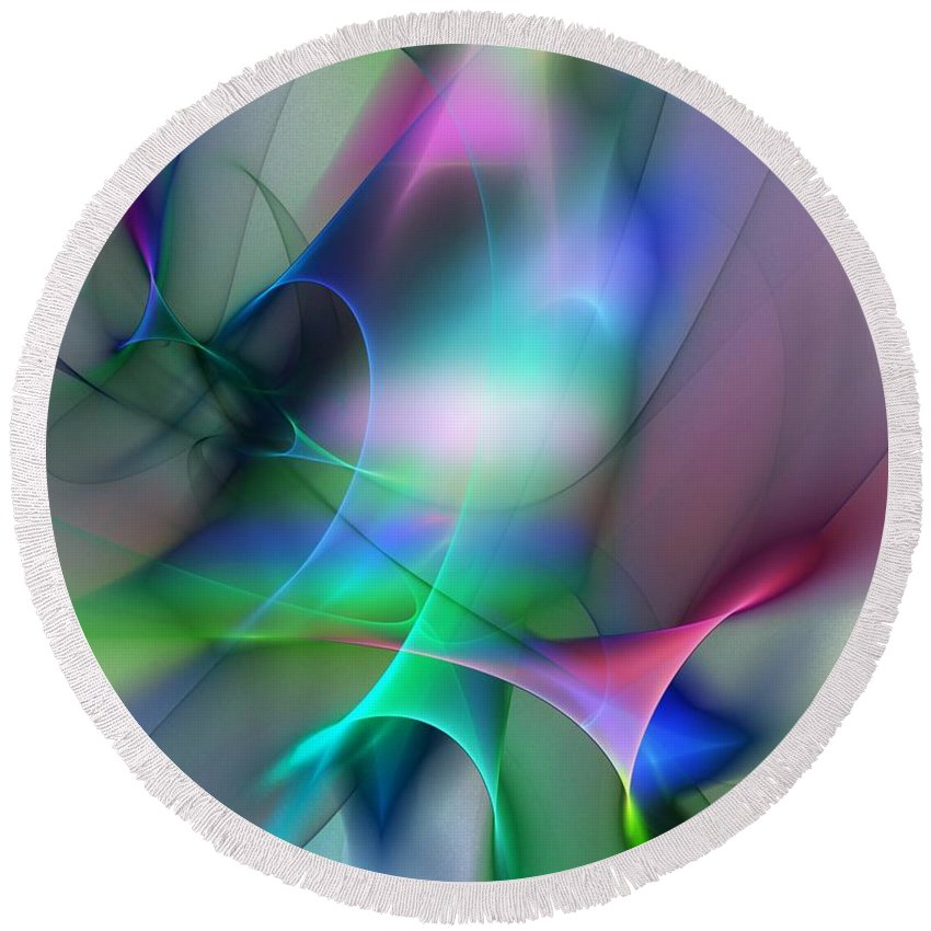 Digital Painting Round Beach Towel featuring the digital art Abstract 053010 by David Lane