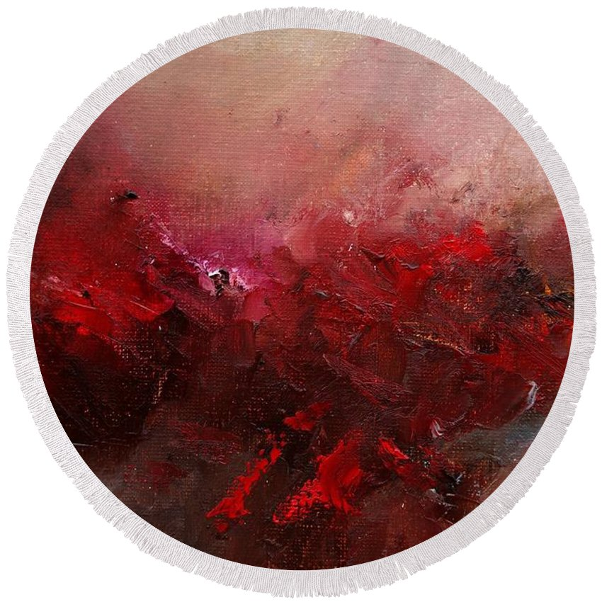 Abstract Round Beach Towel featuring the painting Abstract 056 by Pol Ledent
