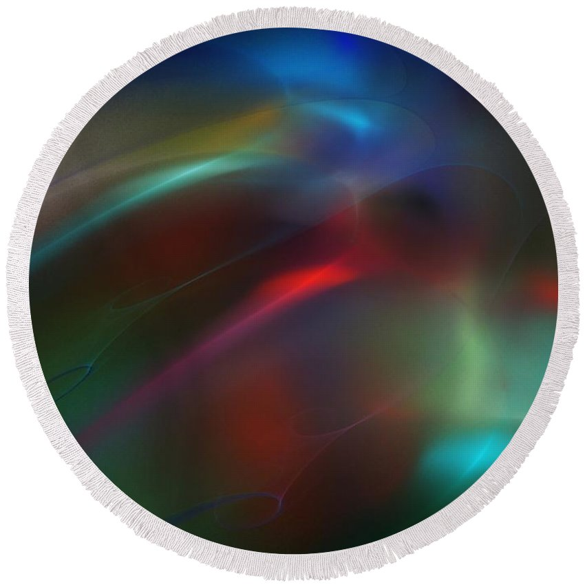 Digital Painting Round Beach Towel featuring the digital art Abstract 060310b by David Lane