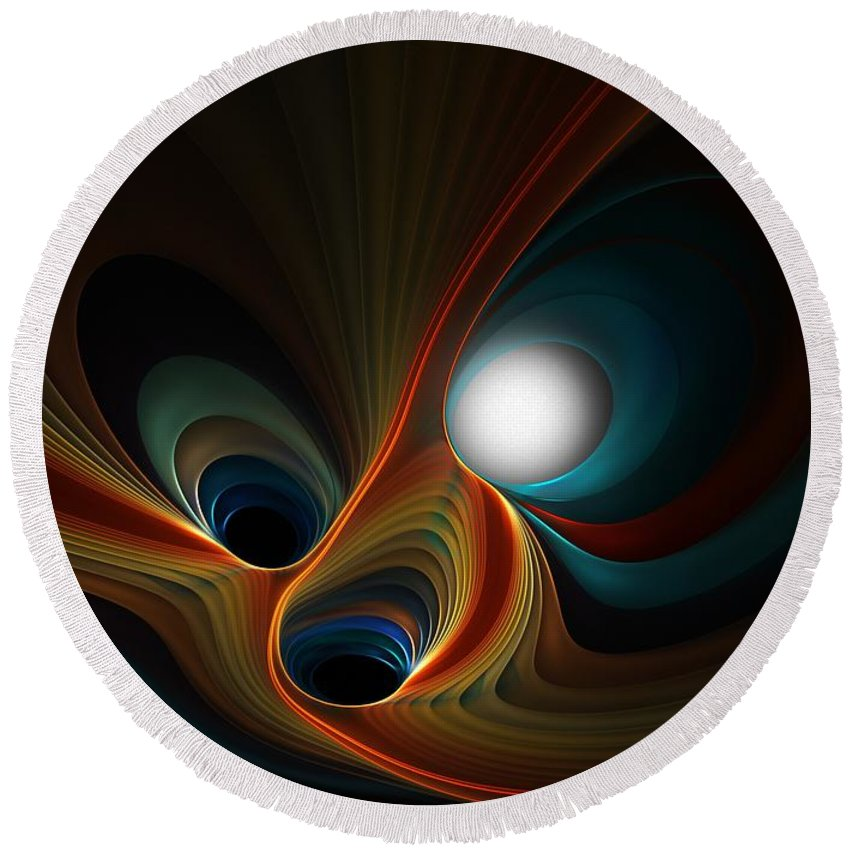 Digital Painting Round Beach Towel featuring the digital art Abstract 060310c by David Lane
