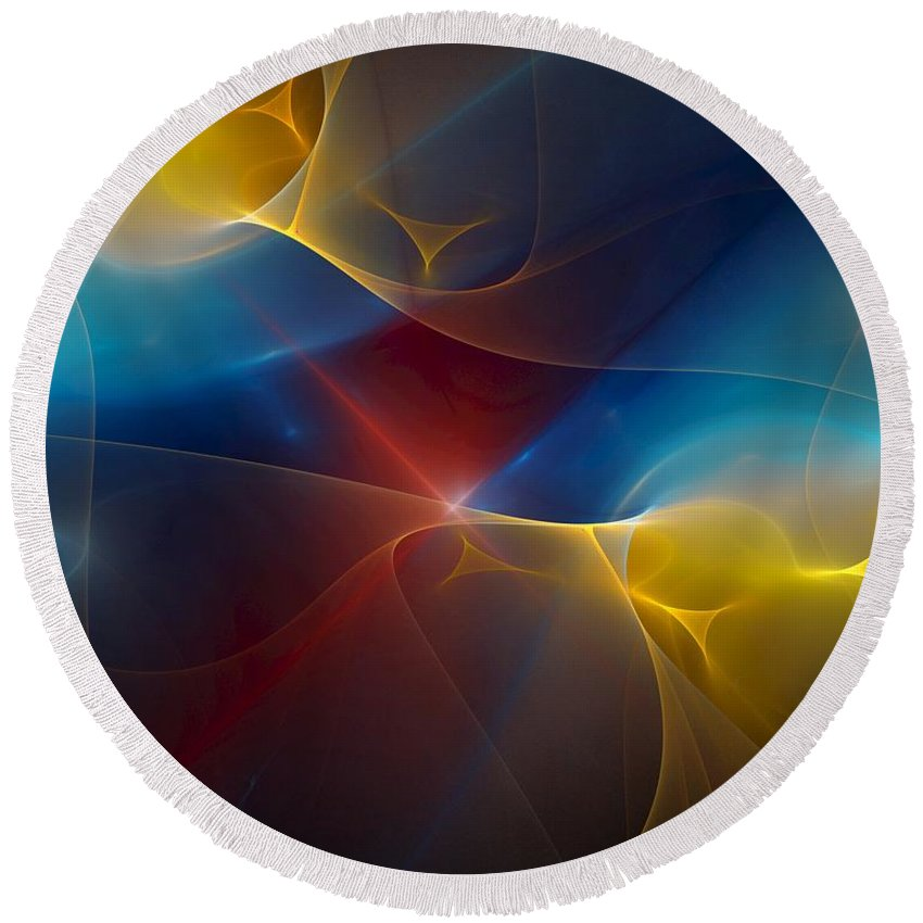 Digital Painting Round Beach Towel featuring the digital art Abstract 060410 by David Lane