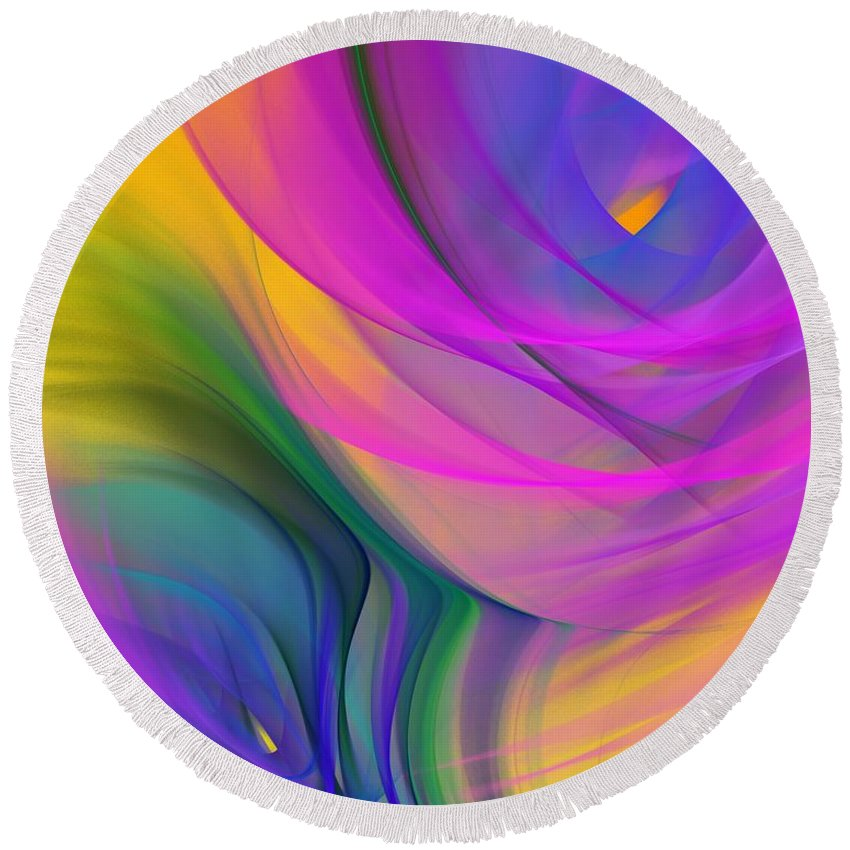 Fine Art Round Beach Towel featuring the digital art Abstract 060611b by David Lane