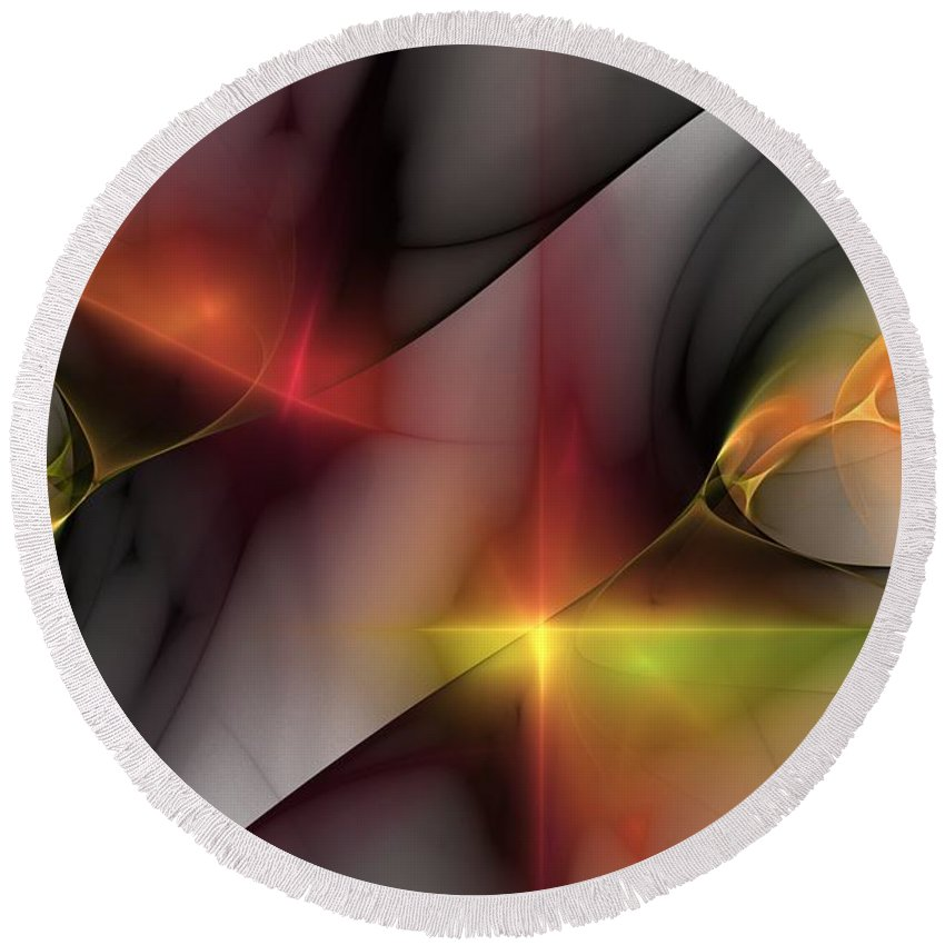 Fine Art Round Beach Towel featuring the digital art Abstract 060810 by David Lane