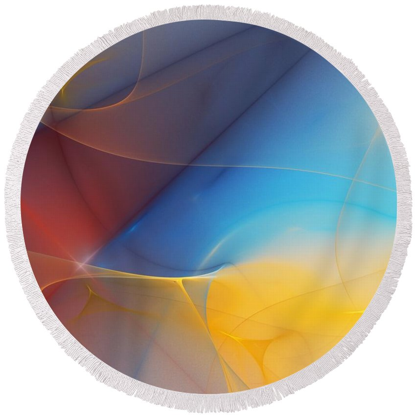 Fine Art Round Beach Towel featuring the digital art Abstract 060810a by David Lane