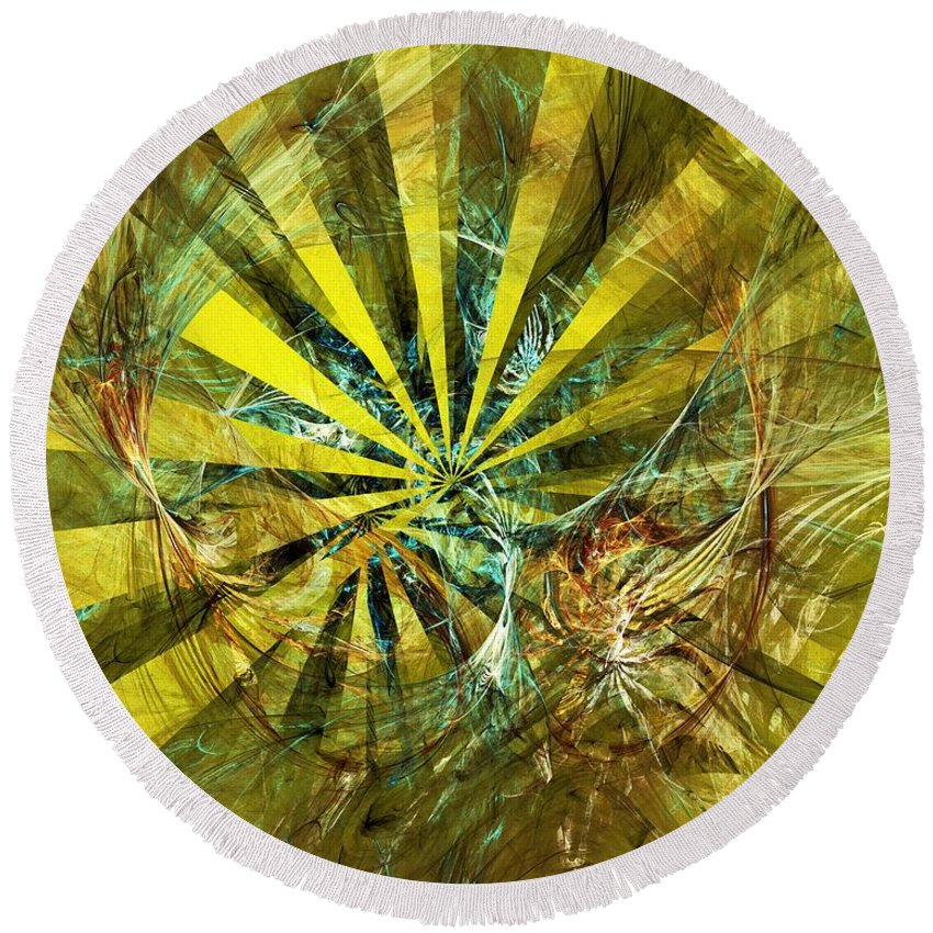 Fine Art Round Beach Towel featuring the digital art Abstract 061011 by David Lane