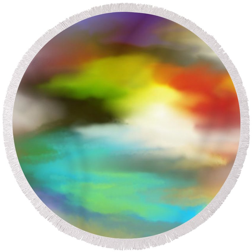 Fine Art Round Beach Towel featuring the digital art Abstract 061011a by David Lane