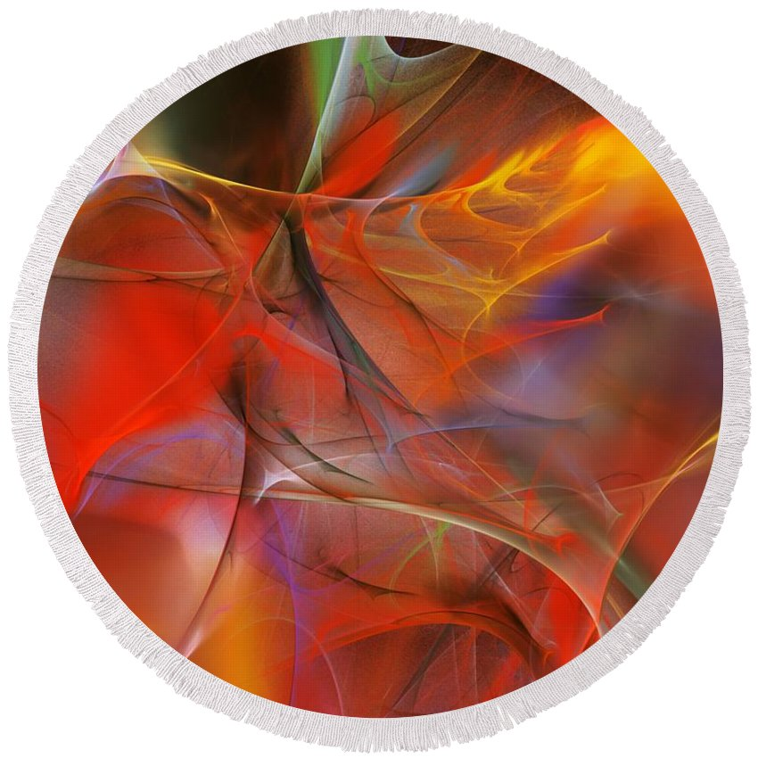Abstract Round Beach Towel featuring the digital art Abstract 062910a by David Lane
