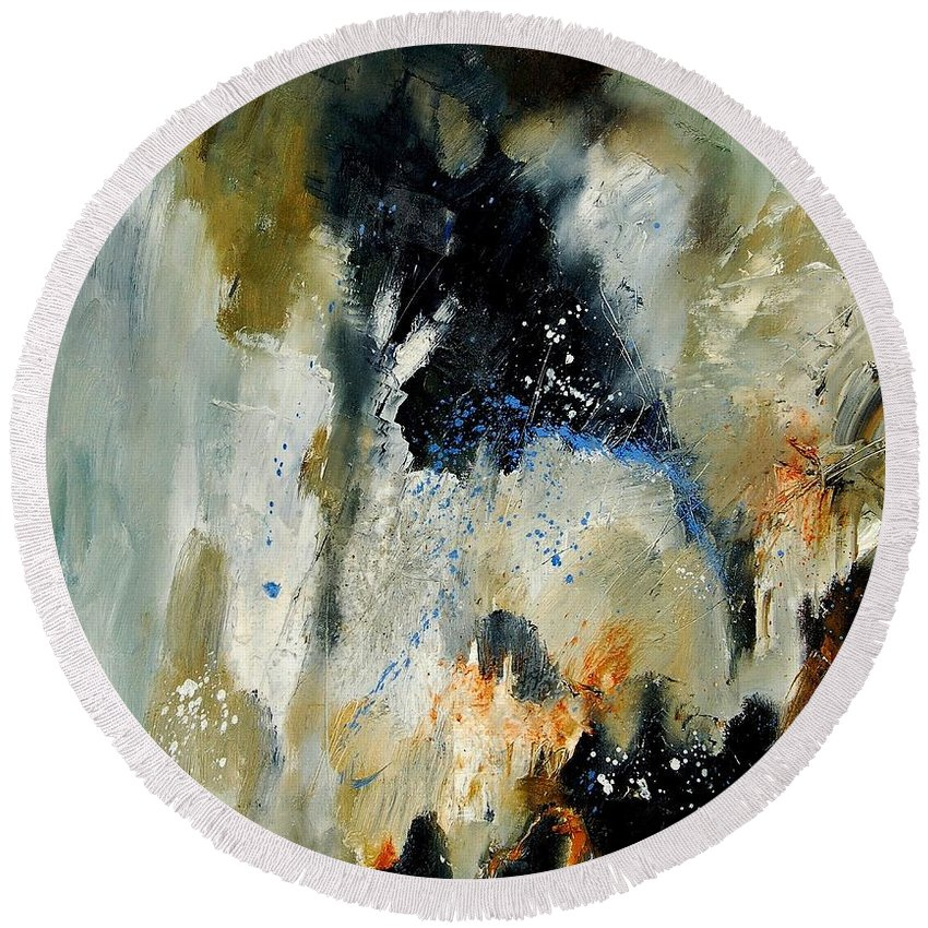Abstarct Round Beach Towel featuring the painting Abstract 070808 by Pol Ledent