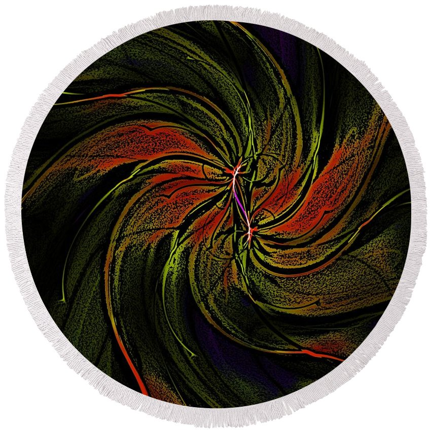 Abstract Round Beach Towel featuring the digital art Abstract 070810a by David Lane