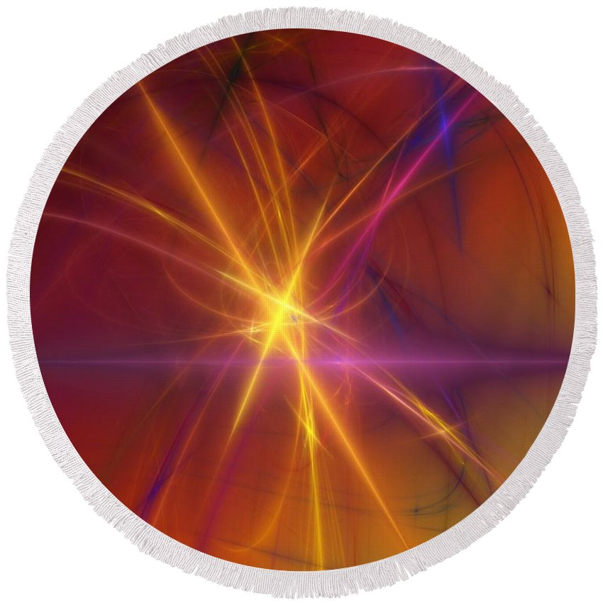 Abstract Round Beach Towel featuring the digital art Abstract 081210a by David Lane