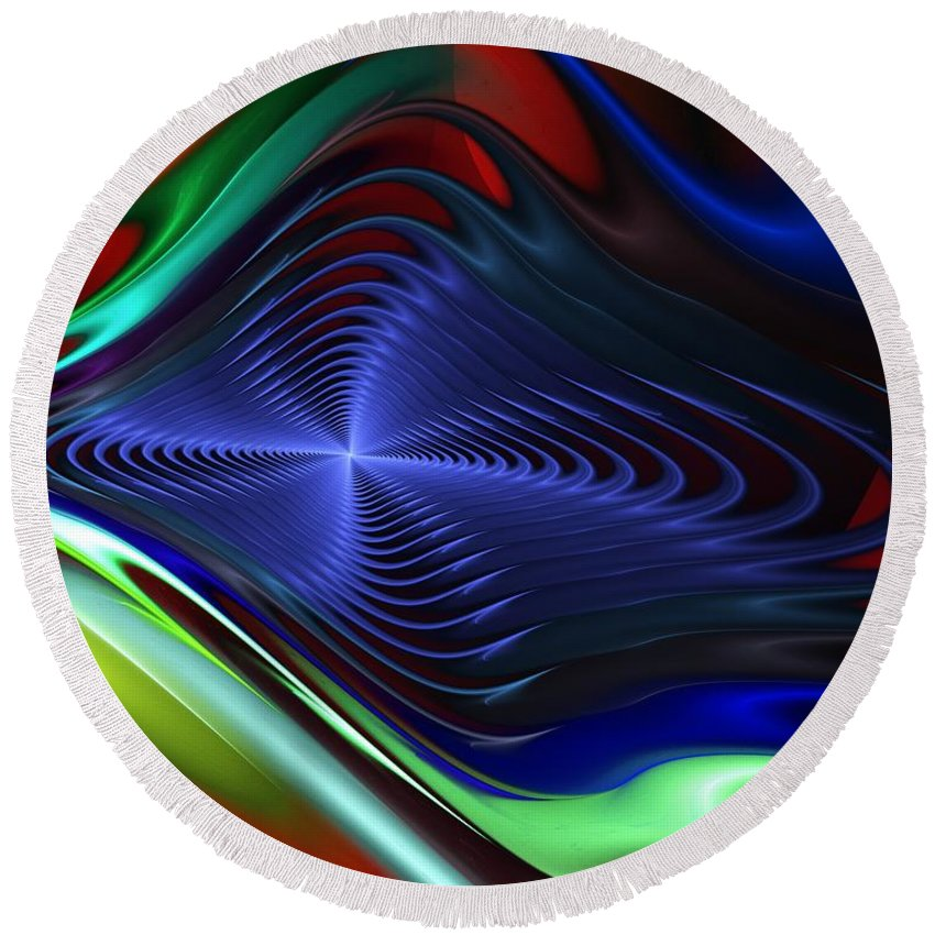 Fine Art Round Beach Towel featuring the digital art Abstract 081510 by David Lane