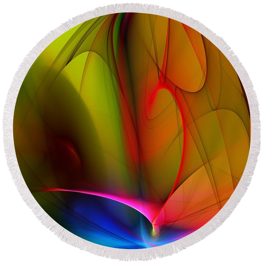 Fractal Round Beach Towel featuring the digital art Abstract 082910 by David Lane