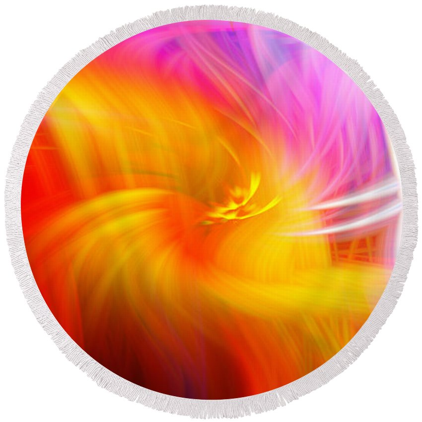 Art Round Beach Towel featuring the photograph Abstract 0902 L by Howard Roberts