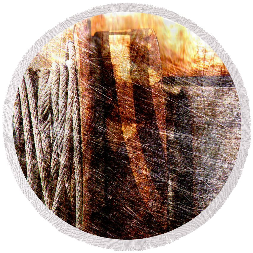 Rust Round Beach Towel featuring the photograph Abstract 1 by Susanne Van Hulst