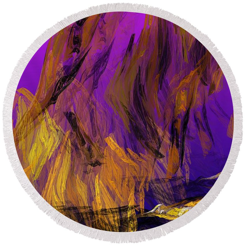 Abstract Digital Painting Round Beach Towel featuring the digital art Abstract 10-16-09-3 by David Lane