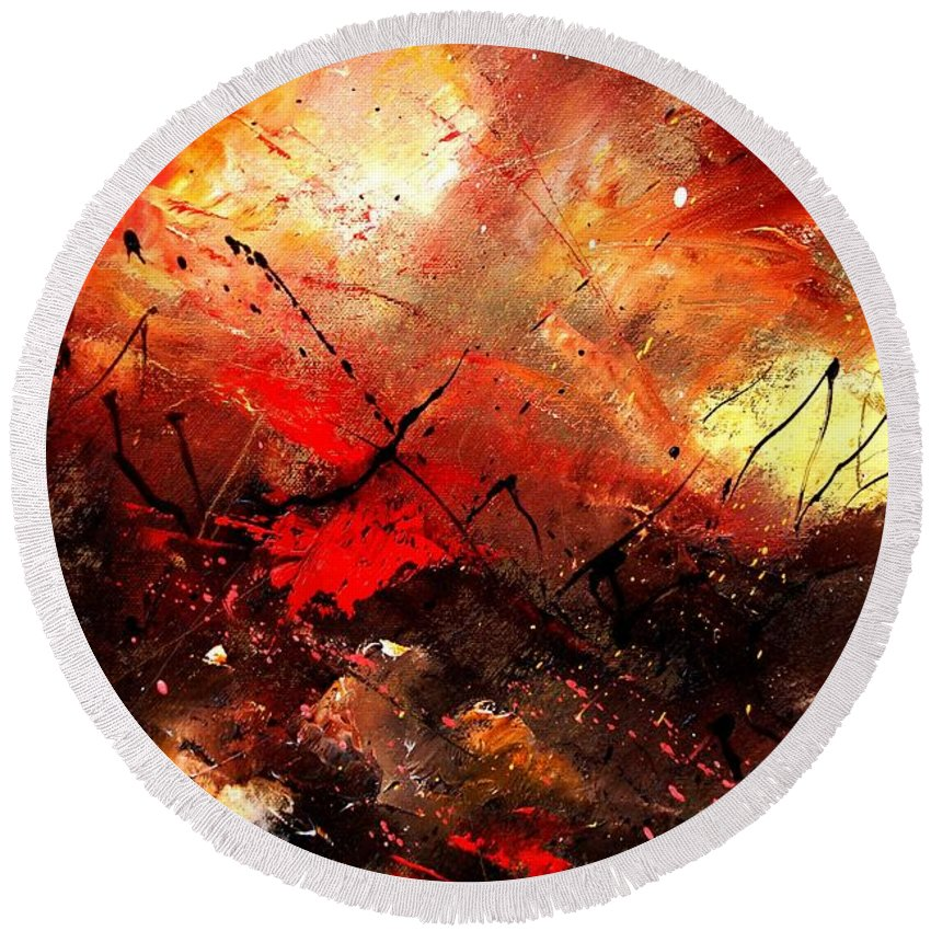 Abstract Round Beach Towel featuring the painting Abstract 100202 by Pol Ledent