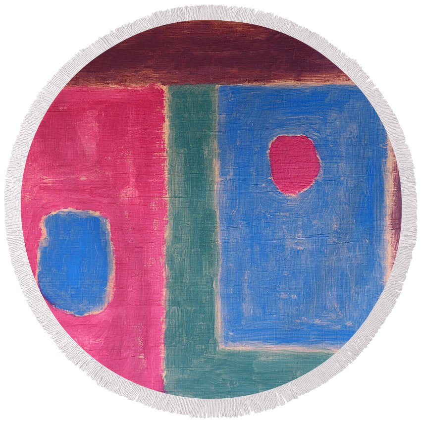 Abstract Round Beach Towel featuring the painting Abstract 109 by Patrick J Murphy
