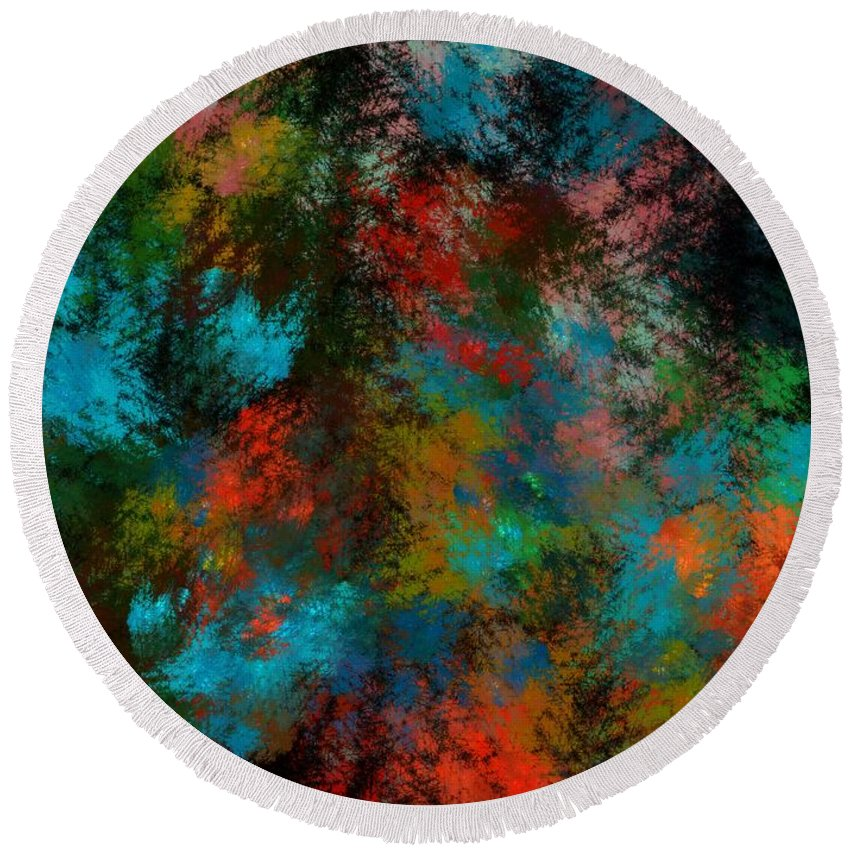 Abstract Digital Painting Round Beach Towel featuring the digital art Abstract 11-18-09 by David Lane
