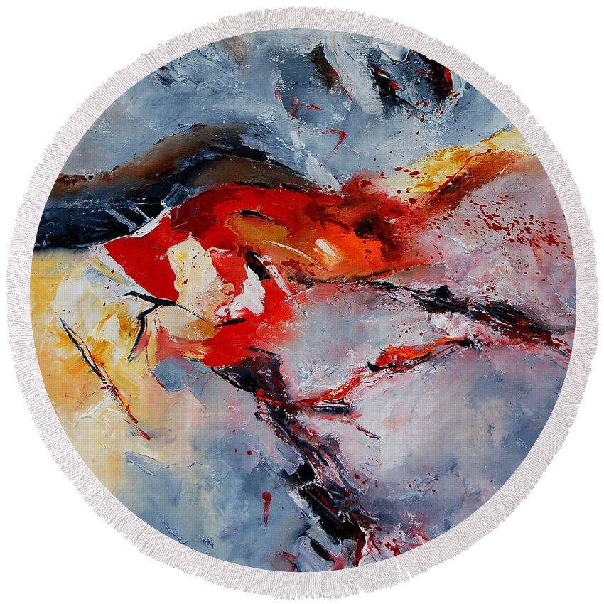 Abstract Round Beach Towel featuring the painting Abstract 1106 by Pol Ledent