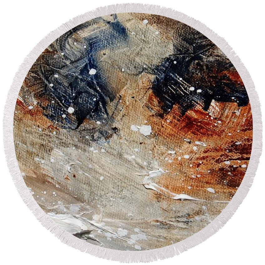 Abstract Round Beach Towel featuring the painting Abstract 1236 by Pol Ledent
