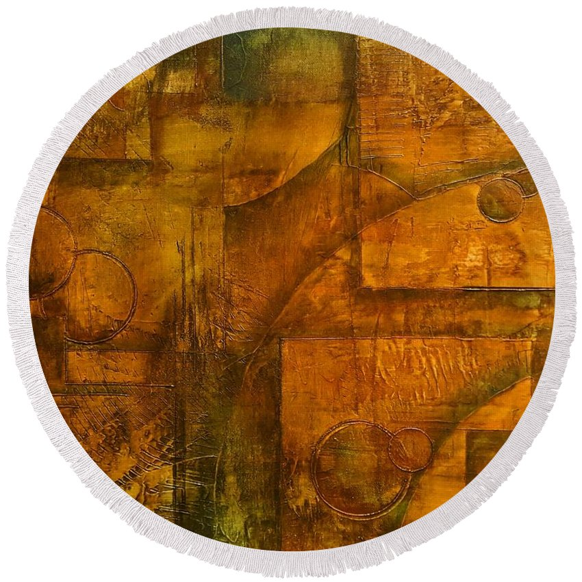 Abstract Round Beach Towel featuring the painting Abstract 18 by Gerri Anderson