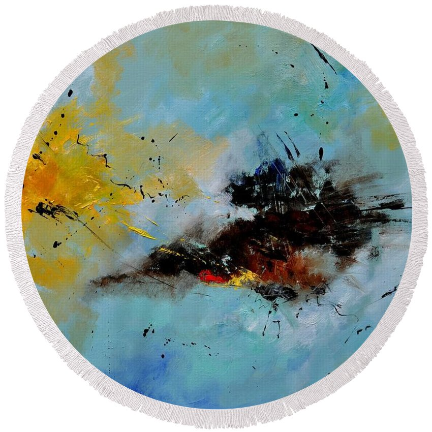 Abstract Round Beach Towel featuring the painting Abstract 1811803 by Pol Ledent