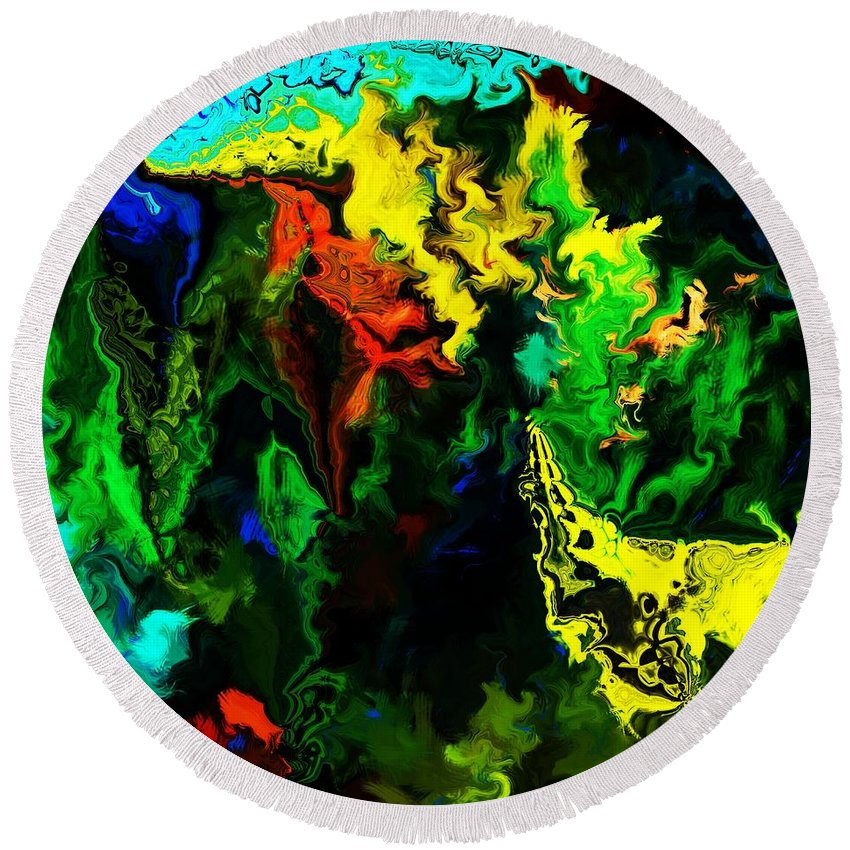 Abstract Round Beach Towel featuring the digital art Abstract 2-23-09 by David Lane