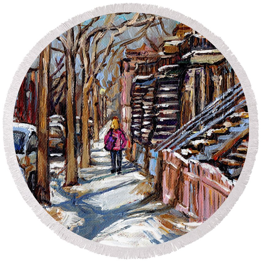 Original Montreal Paintings For Sale Round Beach Towel featuring the painting Scenes De Ville De Montreal En Hiver Original Quebec Art For Sale Montreal Street Scene by Carole Spandau