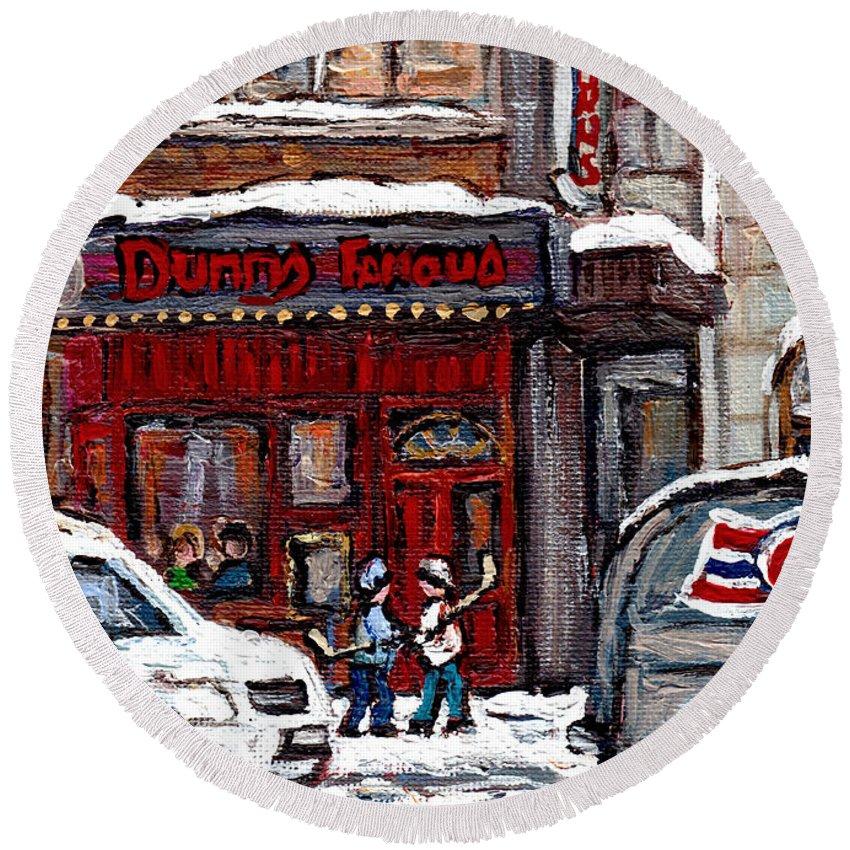 Canadian Artist Celebrates Montreal 375 Round Beach Towel featuring the painting Dunn's Famous Deli Downtown Montreal Scenes De Rue Montreal Centre Ville En Hiver Joueur De Hockey by Carole Spandau
