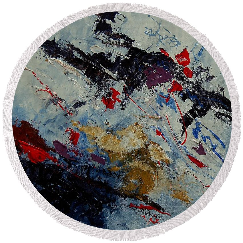 Abstract Round Beach Towel featuring the painting Abstract 33900122 by Pol Ledent