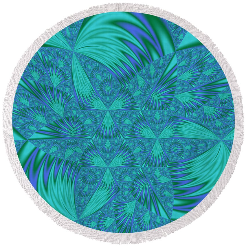 Aqua And Blue Abstract Round Beach Towel featuring the digital art Abstract 404 by Judi Suni Hall