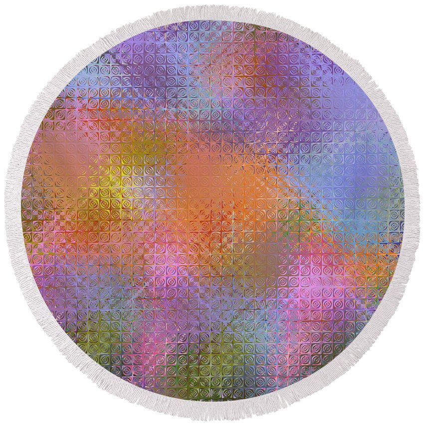 Flower Colored Abstract Round Beach Towel featuring the digital art Abstract 405 by Judi Suni Hall